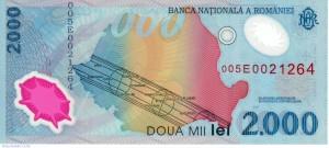 bancnota 2000 lei eclipsa soare 1999